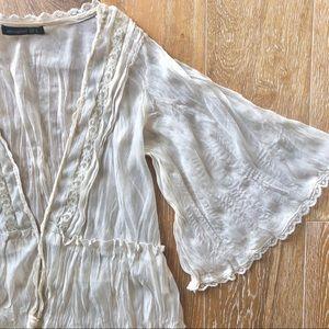 ATMOSPHERE ethereal flowy ivory gauze lace blouse